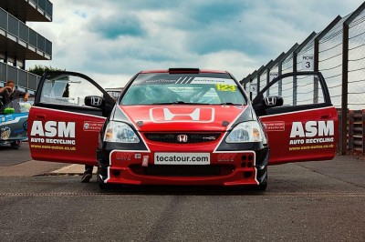 ASM Auto Recycling sponsored racing car