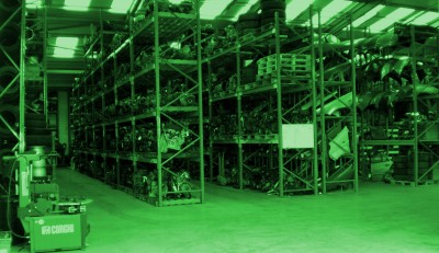 Parts warehouse at ASM in Thame coloured in green hue