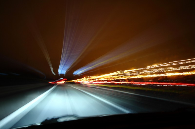 Car passenger's view driving at night