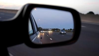 Wing mirror viewing motorway traffic