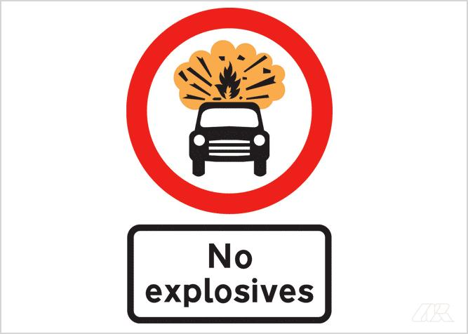 Instructional sign shows car emitting an explosive burst with the words 'No explosives'