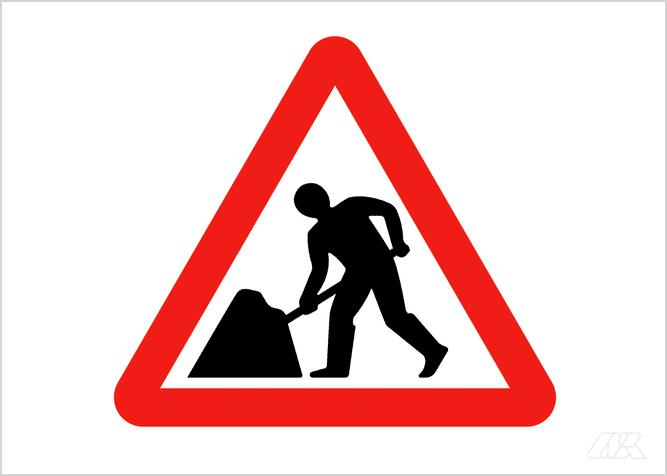 Caution sign shows a silhouette of a road worker shovelling a mound of aggregate which has been cropped by the triangular border